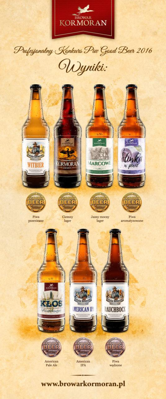 Profesjonalny Konkurs Piw Good Beer 2016 - 7 medali dla Browaru Kormoran