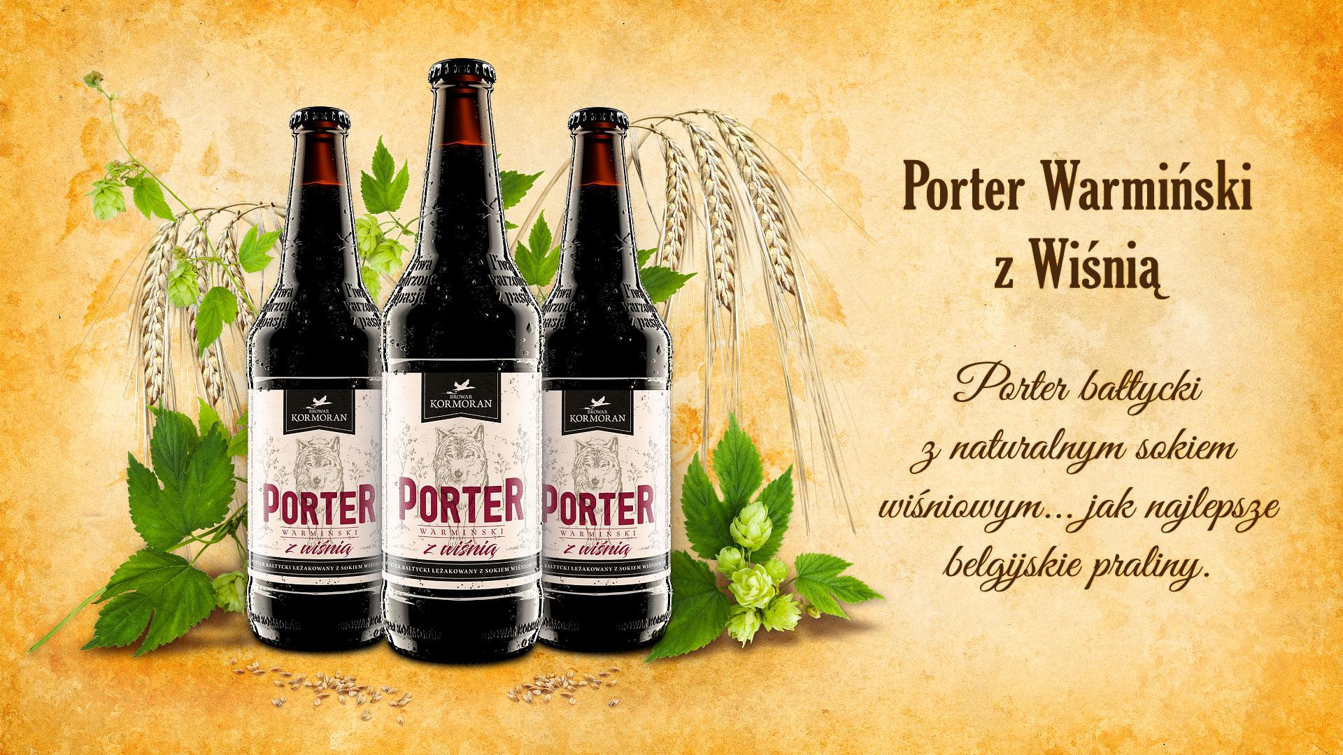 Piwo Porter Warmiński z Wiśnią - Browar Kormoran