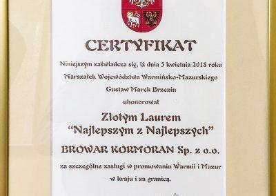 Laur Najlepszym z Najlepszych 2018 - Browar Kormoran