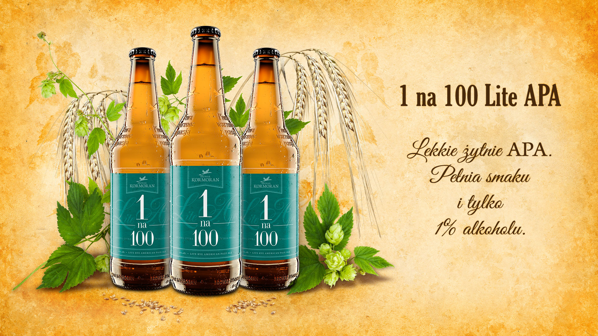 Piwo 1 na 100 Lite APA - Browar Kormoran